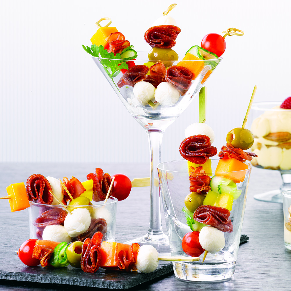 Antipasto Kabobs with Tiramisu Shooters