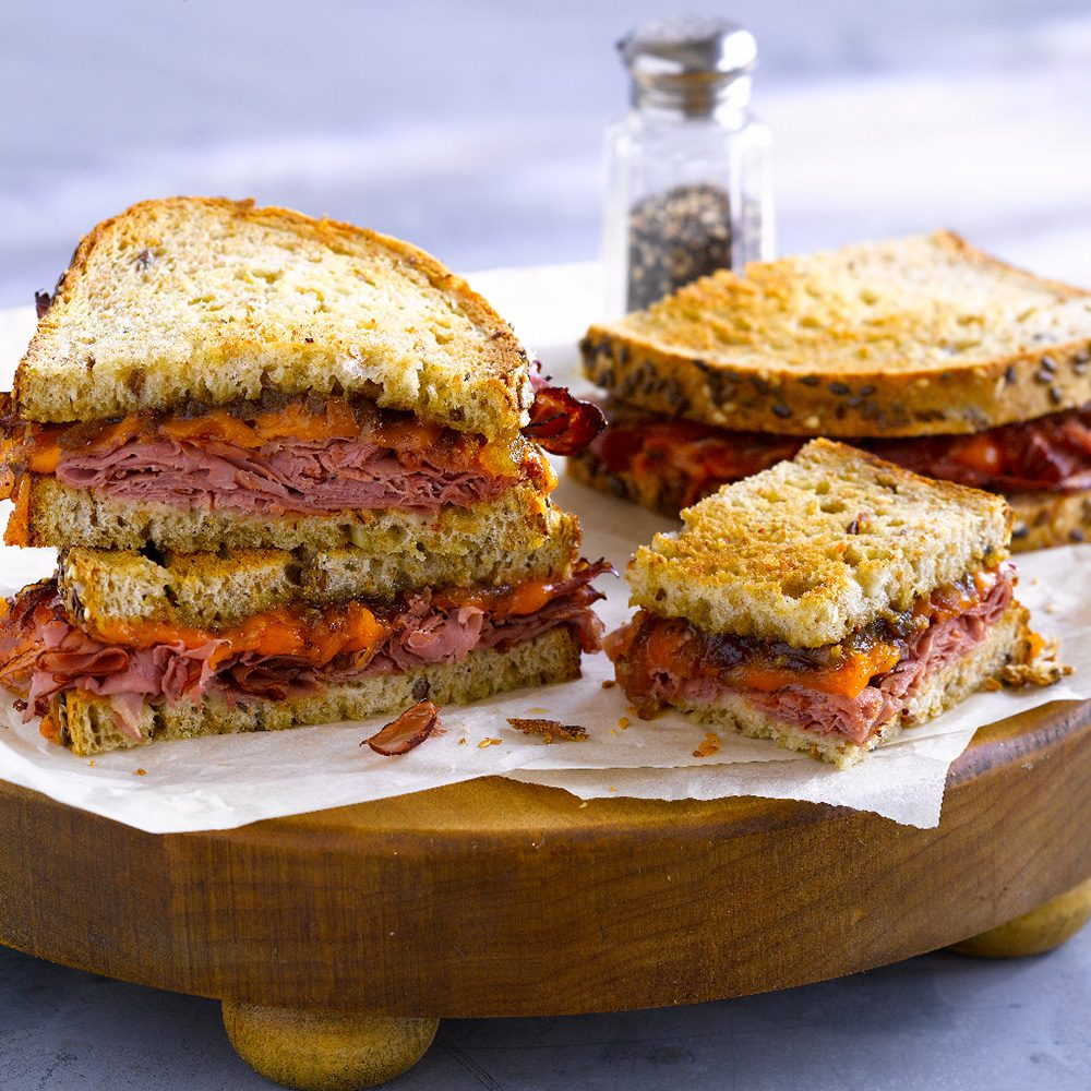 Corned Beef Grilled Cheese with Rudolph's Bavarian Multigrain Bread